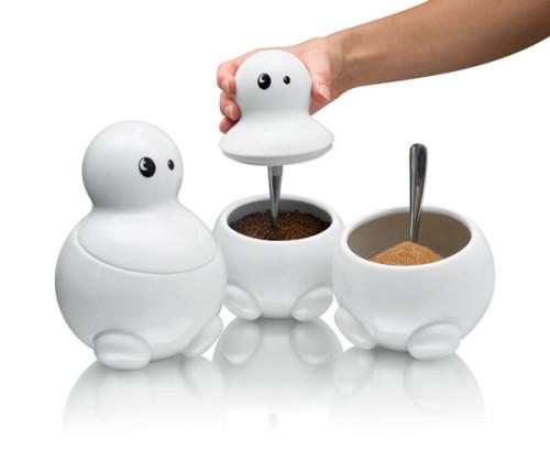 mascote din portelan pentru cafea, zahar, ceai