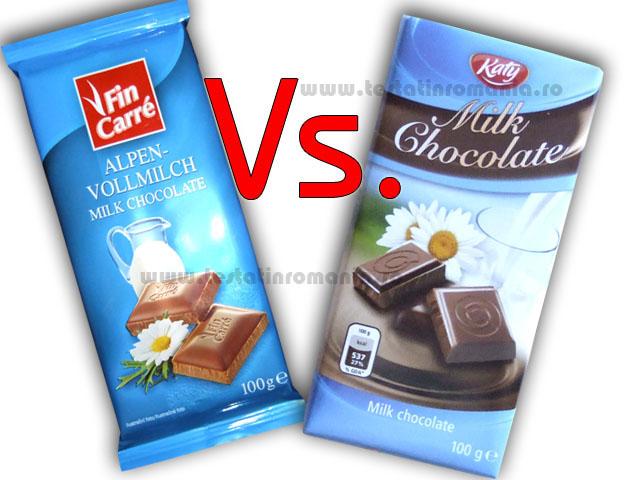 Fin Carre ciocolata fina cu lapte integral vs. Katy ciocolata cu lapte