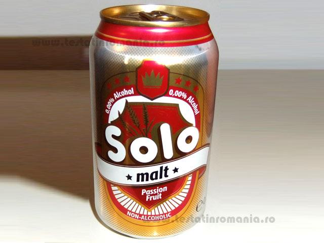 Solo – bautura racoritoare carbogazoasa cu extract de malt si gust de fructul pasiunii 0,33 litri