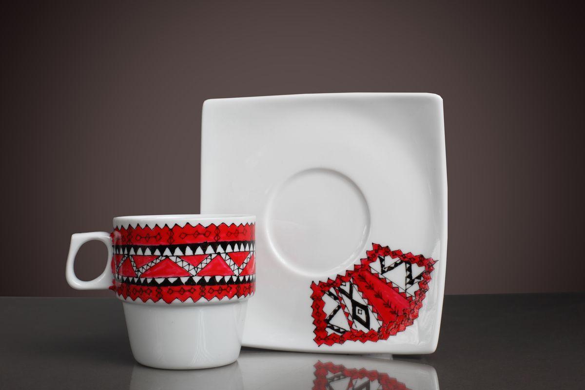 ceasca cafea portelan picatat manual