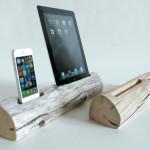 Driftwood Dock, suport de lemn unic pentru tabletă și smartphone