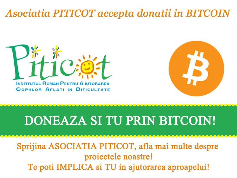 Asociatia PITICOT accepta donatii in bitcoin