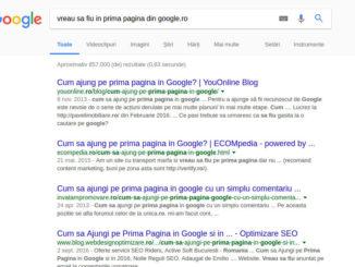 vreau sa fiu in prima pagina din google.ro