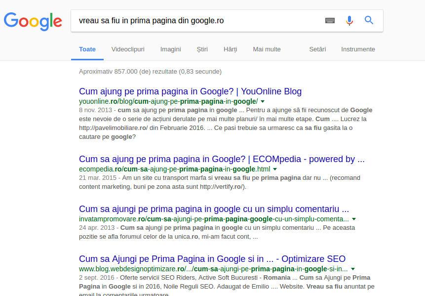 Cum să faci SEO ca să ajungi pe prima pagină din google.ro organic?
