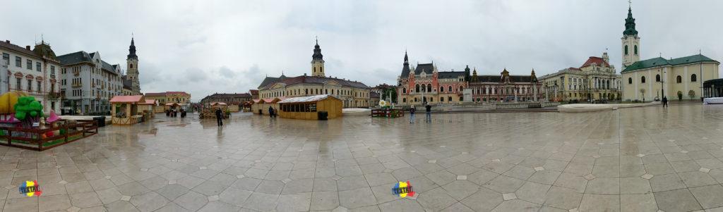 piata unirii, imagine panoramica, oradea