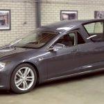 Tesla Model S transformat în dric mortuar