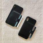 Carcasă din piele pentru iPhone X cu spațiu ascuns pentru carduri