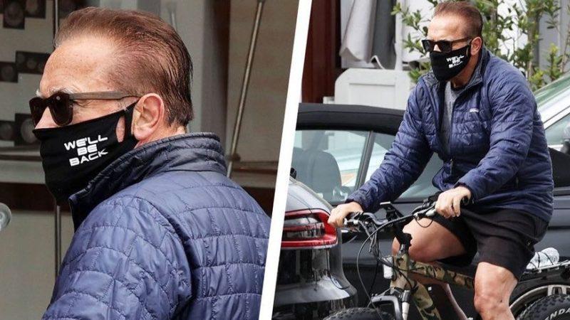 """Arnold Schwarzenegger poartă o mască inspirată din filmul """"Terminator"""""""
